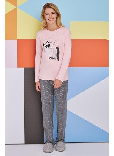 Roly Poly Rolypoly Sleeping Raccoon Kadın Pijama Takımı Pudra Pudra